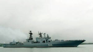 The Russian Federation Navy Udaloy class destroyer Marshal Shaposhnikov transiting the channel into Pearl Harbor in October 2003 (photo credit: US Navy)