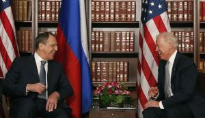 Biden and Lavrov are laughing during talk about Iran