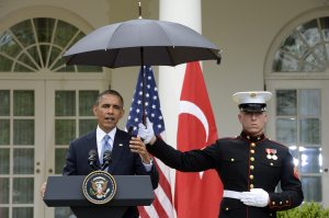 US President Barack Obama and Turkish Prime Minister Recep Tayyip Erdogan hold a joint news conference