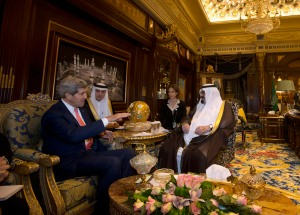 U.S. Secretary of State John Kerry meets with Saudi Arabia's King Abdullah in Riyadh
