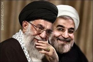 Hassan Rohani and Ayatollah Ali Khameni