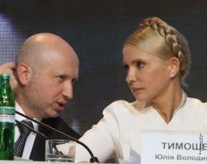 Parliament Speaker Oleksandr Turchynov and Ukraine Prime Minister Yulia Tymoshenko