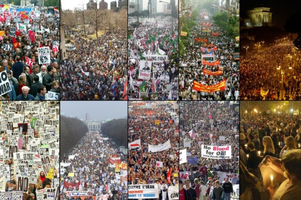 Protests-against-war-in-Iraq-erupted-around-the-world-in-March-of-2003.-This-combination-photo-shows-from-top-left-large-demonstrations-in-Madrid-New-York-Jakarta-Calcutta-Rome-2nd-row-London-Berlin-Mar