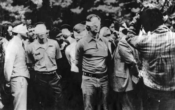 American hostages are paraded by their militant captors